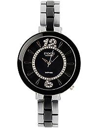 FOCE Silver & Black Round Analog Wrist Watch for Women with Silver ::Black Metal & Ceramic Strap - F378LSM-BLACK