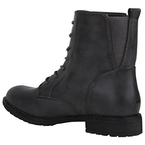 Stiefelparadies Damen Schnürstiefeletten Zipper Nieten Schuhe Strass Schnürschuhe Boots Coole Leder-Optik Schnürer Flandell Grau Cabanas