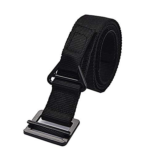 Tianzhiyi Kleidung Tactical Web Belt für Herren, Nylon Outdoor Security CQB Combat Verstellbarer Gürtel mit Metallschnalle für Jagd-Notfall-Rigger Survival - Grün (Color : Schwarz) -