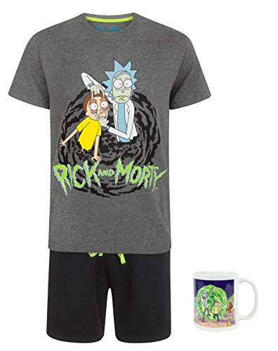 RICK AND MORTY Portal Pyjamas and Mug Gift Set Bundle - Shirt Swim Adult