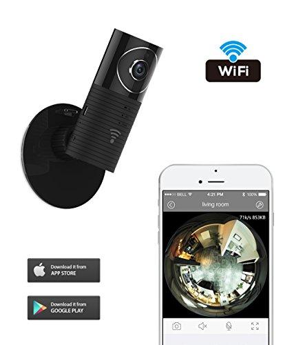 Galleria fotografica Clever Dog Wifi Wireless sicurezza sorveglianza Fotocamera panoramica 180 ° HD telecamera con audio a due vie, Remote di Vista Monitor Video Motion Detect e funzioni di visione notturna