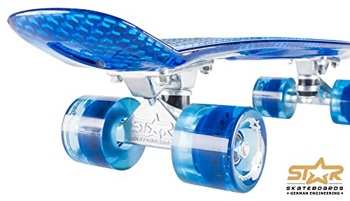 STAR-SKATEBOARDS® Vintage Cruiser Board ★ 22er Trendy Transparent Edition ★ Ocean Blau -