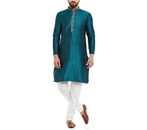 Sojanya Men's Cotton Silk Kurta and Churidaar Pyjama Emerald Green_Medium