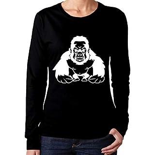 Shirts Gorilla Agro Cool Affe Damen Langarmshirt Basic Black Shirt Jugend Spaß runder Hals Slim Casual Damen T-Shirt