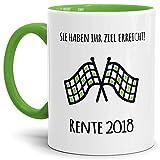 Tassendruck Geschenk-Tasse Zum Ruhestand mit Lustigem Spruch:Ziel Erreicht 2018