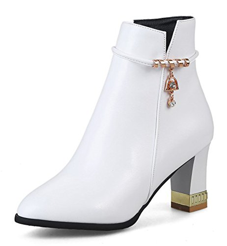 Bottines Low Boots Aisun Strass Sexy Chunky Femme Blanc Cheville OSw4aqR