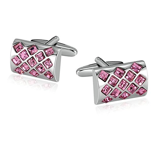 AMDXD Jewelry Stainless Steel Cuff Links for Mens Mosaic Rhinestone CZ Rectangle Silver Pink 2X1.3CM