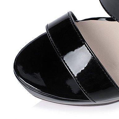 LvYuan Sandalen-Kleid Lässig Party & Festivität-Lackleder-Stöckelabsatz-Komfort-Schwarz Weiß Black