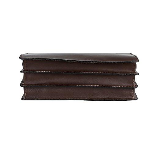 Unisex Aktentasche, Business Handtasche mit Schulterriemen, Laptophalter, aus echtem Leder Made in Italy Chicca Borse 39x30x17 Cm Dunkelbraun