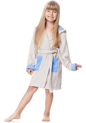 Ladeheid Kinder Frottee Bademantel aus 100% Baumwolle LA40-103 (Hellgrau/Blau (P13/M9), 110-116) (Frottee-bademäntel Für Kinder)