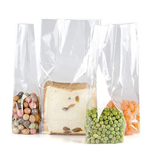 ttel Lagerung Cellophan Geschenk Wrap Sandwich Snack Taschen mit Bindebändern, Size L 7.5,W 5,H 25cm,150 zählen,quadratischer Boden ()