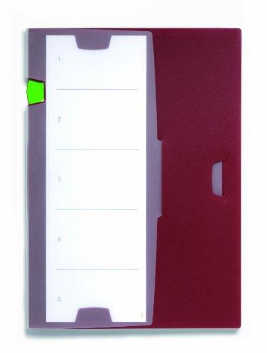 Durable 247631 Projektmappe Prio, für DIN A4 Dokumente, 5 Stück, aubergine/dunkelrot