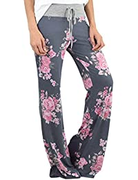 HOMEBABY Women Floral Prints Drawstring Waist Wide Leg Flowy Pants Loose Yoga Trousers, Ladies Casual Summer Sports Workout Gym Fitness Exercise Skinny Girls Baggy Lounge Pants