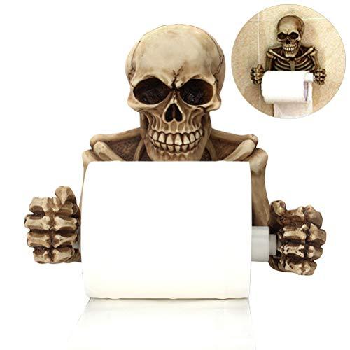 Halloween Toilettenpapierhalter, Spooky Grinsend Skeleton Toilettenpapierhalter Mittelalter Harz Gothic Skeleton Figur Statue Halloween Decor