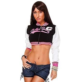 24brands Damen College Jacke Bauchfrei Kurze Baseball Jacke Pullover Pulli - 1997, Größe:XL;Farbe:Pink (Neon)