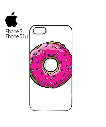 Doughnut Donut Pink Delicious Oishi Sweet Desert Mobile Phone Case Cover iPhone 5&5s Black Blanc