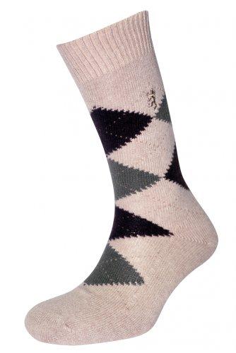 Pringle Cashmere (Herren 1 Paar Pringle of Scotland 85% Cashmere Socken mit Rautenmuster in 8 Farben - 9-11 Mens - Natürlich)