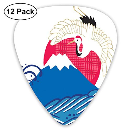ks - 12 Pack,Abstract Art Colorful Designs,The First Sunrise In Japan With Fireball Sun Behind Aggressive Ocean Waves And A Bird,For Bass Electric & Acoustic Guitars. ()