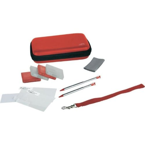 Speedlink Starter Kit 10-In-1 für Nintendo N3DS/NDSi (Tasche, Touch Pens, Schutzfolie, Spielhüllen, Mikrofasertuch) metallic rot