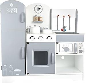 Small Foot 10598cocina de madera con una bisagra para frigorífico y congelador, cocina, horno y microondas así como un armario de cocina, incluye salero y pimentero, utensilios de cocina y utensilios de cocina y rotación de reloj de pared