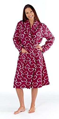 Femmes Polaire Peignoir Robe De Chambre Enveloppant Spa Cadeau Clair Supersoft VIN CŒURS