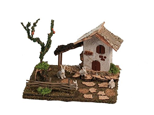 Bertoni miniature casa con conigli e tree figurine, legno, 19x 15x 14cm