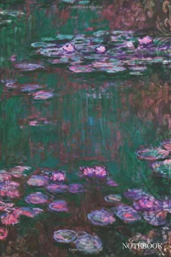 Notebook: Small Pocket Lined Notebook Monet's Water Lilies Contemporary Version Purple (Kids Buch Monet)