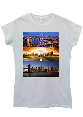 London Los Angeles New York Panoramic White White Weiß Women Damen Top T-shirt Weiß