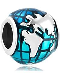Uniqueen Jewellery Ocean Blue Earth World Globe Charms New Sale Cheap Beads Fit Pandora Chamilia Charm Bracelet