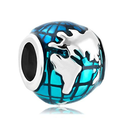 Uniqueen, Charm-Perle / Anhänger, Ozean / blauer Globus, für Pandora- / Chamilia-Armband