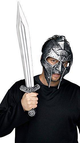 Herren Römischer Gladiator Krieger Soldat Kostüm Kleid Outfit Helm Hut & Schwert Zubehör Set Satz - Grau, One Size