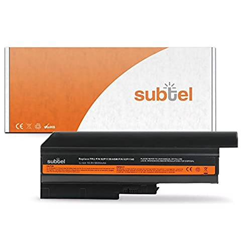 subtel® Batterie premium (6600mAh) pour Lenovo ThinkPad R61 / T61 (15.4