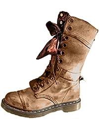 Beikoard Damen Retro Lederschuhe Middle Boot Rutschfeste runde Spitze Schnürstiefel Combat Boots Elegant Rutschfeste Schuhe