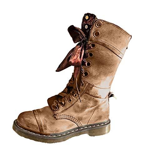 MYMYG Stiefeletten Frauen Retro Schuhe Leder Lace-Up einfarbig Mittel Stiefel Rutschfeste Runde Zehe Schnürschuh Stiefel Halbschaft Freizeitschuhe Winterstiefel