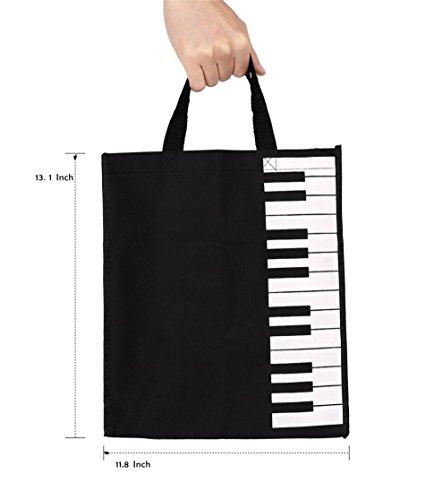 Action Cloud Stofftasche mit Klaviertasten, Einkaufstasche, für Notenbücher und anderes, tolles Geschenk für Musikliebhaber MG-335 Black Womans Chain Wallet