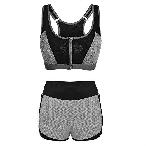 Fitibest Costumes de Sport Fermeture à Glissière Avant Soutien-gorge de Sport Pantalons de Yoga Ensembles de Gymnastique Soutien-gorge Respirant et Shorts Pour Femmes
