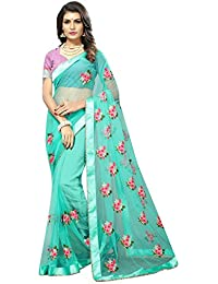 High Glitz Fashion Net Saree With Blouse Piece (Hgf1252_Blue_Free Size)