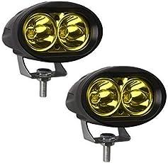 LIONEX Aluminum Bright LED 20 Watt Fog Light for Bike (Yellow, 2 Pcs)