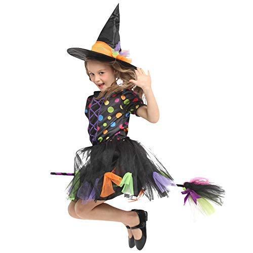 Xiaoqin Kinder Baby Mädchen Hexe Dress up Halloween Kinder Durchführung Kleidung Kostüm Kleid Party Kleider + Hexe Hut (5-12) (Color : Black, Size : M(5-7years))