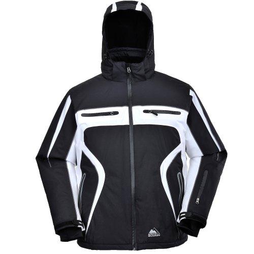 Cox Swain Titanium Herren Ski-/Snowboard Funktionsjacke Finley RECCO 15.000mm, Colour: Black/White - Black Zipper, Size: M
