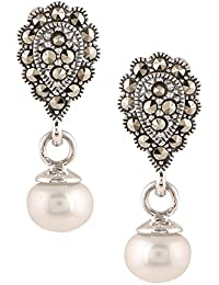 Ananth Jewels 925 Silver With Swarovski Marcasite And Pearls Dangle Drop Earrings For Women