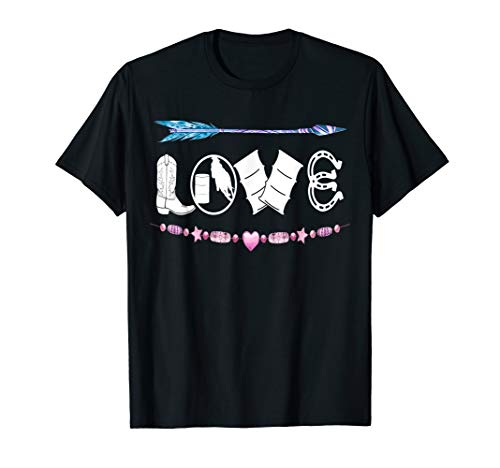 Love Horse Barrel Racing Cowgirl Womens Arrows Flowers T-Shirt (Up Cowgirl T-shirts)