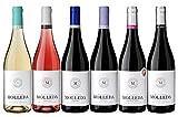 Caja de 6 botellas de vino combinadas de la gama Hacienda Molleda; blanco, rosado, tintos y crianza