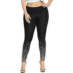 MORCHAN ❤ Mode Femmes Taille Haute Yoga Sport Pantalons Casual Plus Taille Etoiles Imprimer Leggings(XL,Noir)