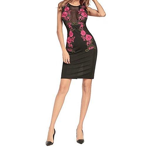 Rocke Sexy Fischnetz Kleid ärmellos Mini, figurbetontes Kleid Stickerei Blüten Kleid S/M/L/XL / 2XL Damen (Farbe : Schwarz, Size : XXL) -