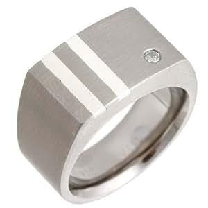 Theia Titanium and Silver Inlay 0.05ct Diamond Matt 10mm Signet Ring - Size L