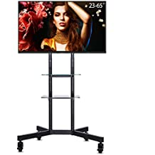 """UNHO Mobile Trolley TV Mount Floor TV Stand with Bracket Floating Double Glass Shelf for 23""""- 65"""" LED LCD Plasma Max VESA 600 x 400 88lbs Weight Capacity Adjustable Height"""
