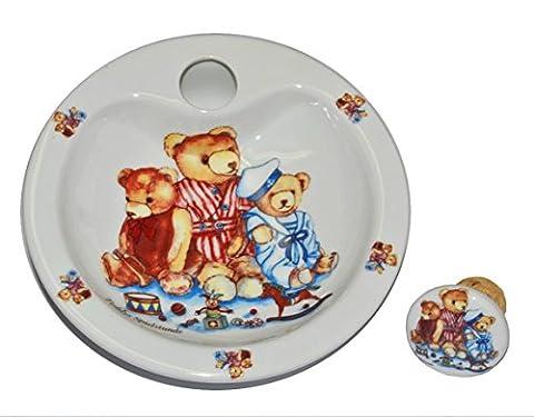 Warmhalteteller Porzellan Teddy mit Spielzeug - Keramik Kind Kinder Kindergeschirr Kinderservice Spielstunde (Porzellan Spielzeug)