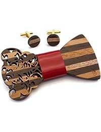 GIGETTO Kit Papillon in legno e gemelli, nodo papillon in ecopelle rosso, gemelli con base argento. Farfallino artigianale. Cinturino regolabile. Limited Edition BAROCCO