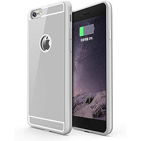 Aursen® Case protectora del teléfono móvil Caso Qi Hardcover Volver con QI cargador para el iPhone 6 / iPhone 6S Plus - Plata